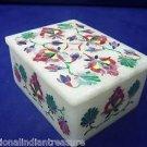 """4""""x3""""x2"""" White Marble Jewelry Box Pink Inlaid Mosaic Handmade Pietra Dura Art"""