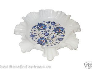 White Marble Dry Fruit Bowl Real Lapis Marquetry Inlay Floral Kitichen Deco Gift