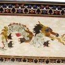 "24""x48"" Black Marble Dining Table Top Furniture Dragon Inlaid Pietra Dura Decor"