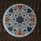 """12"""" Malachite Round Coffee Table Top Dining Semi precious Hakik Pietra Dura Art"""