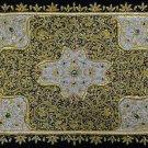 1.5'x2' Gold Wall Hanging Jewel Carpet Kashmir Zardozi Embroidery Home Decor Art