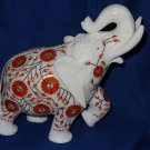 Marble Safari Turning Elephant Hakik Pietra Dura Inlaid Mosaic Rare Home Decor