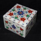"4""x3"" Marble Lapis Jewelry Box Hakik Square Marquetry Inlay Home Decor Gifts Art"