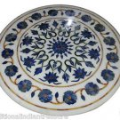 """Size 30""""X30"""" Marble Side Coffee Table Top Lapis Inlay Gem Mosaic Home Deco H915A"""