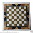 """Size 18""""x18"""" White Coffee Marble Table Top Chess Mosaic Home Decor Gifts Art"""