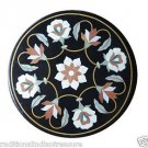 """Size 24""""x24"""" Black Marble Coffee Table Top Flower Marquetry Home Decor New"""