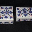 Lapis Lazuli Floral Set Of Two Jewelry Box Trinket Handmade Pietra Dura Decor