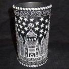 Black Marble Vase Flower Hand Carved Pot TAJ MAHAL Stars Design Art Collectible