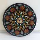 "24"" Round Black Marble Top Sofa Table Top Marquetry Handmade Home Decor Gifts"