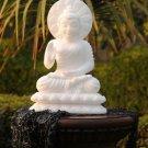 "10"" White Marble Buddha Goddess Figure Stone Sculpture Religious Collectible Art"