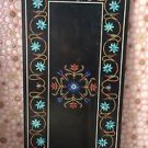 6'x6' Black Marble Dining Coffee Table Top Turquoise Pietradure Inlay Home Décor