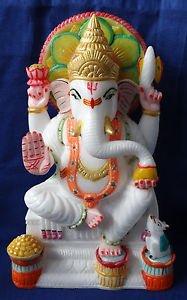 Marble Color Ganesha Statue Lord Ganesh Deities Sculpture Art Hand Painted Art