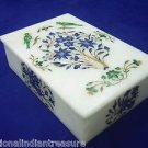 "6""x4""x2"" Decorative White Marble Jewelry Box Parrot Handmade Pietra Dura Art New"
