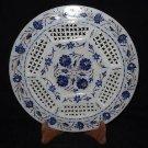 "11"" Marble Plate Lapis Lazuli Floral Design Pietra Dura Handmade Home Decor Arts"