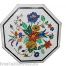 "12"" Marble Coffee Table Top Pietra Dura Floral Lapis Beautiful Garden Home Decor"