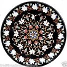 3' Black Marble Dining Table Top Inlay Stone Ancient Floral Art Handmade Decor