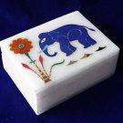 Marble Jewelry Trinket Box Lapis Lazuli Elephant Handmade Home Decor Gifts