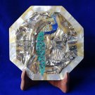 "7"" Marble Plate Peacock Art Paua Shell Mother Of Pearl Pietra Dura Decor Gifts"