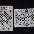 Marble Dish Saop Holder Pcs of  2 Soap Bathroom Pietra Dura Decor Lapis Lazuli