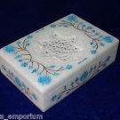 "6""x4""x1.5"" Marble Jewelry Box Turquoise Filigree Handmade Decorative Gifts Art"