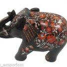 "6.5"" Decorative Marble Elephant Real Carnelian Pietra Dura Mosaic Gifts Decor"