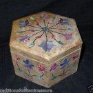 Marble Lapis Lazuli Marquetry Jewelry Box Trinket Handmade Inlaid Home Decor