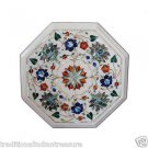 """12"""" Marble Coffee Table Top Pietra Dura Floral Paua Shell Cabinet Shelf Display"""