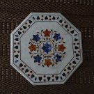 """24"""" White Marble Marquetry Coffee Dining Table Top Rare Handmade Pietra Dura New"""