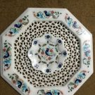 """12"""" White Marble Coffee Table Top Inlay Work Marquetry Handicraft Filigree Art"""