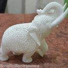 """5"""" White Marble Elephant Undercut Inside Baby Elephant Fine Filigree Work Decor"""
