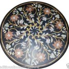 Size 2.5'X2.5' Marble Dining Table Top Rare Jasper Inlay Floral Home Decor