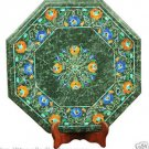 "16"" Green Marble Coffee Corner Table Top Marquetry Lapis Lazuli Inlay Handicraf"