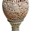 """8.5"""" Marble Hand carved Aroma Tea Light Candle Holder Carved Home Decor At Night"""