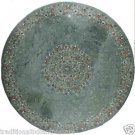 "36"" Green Marble Semi Precious Dining Coffee Table Top Lapis Lazuli Paua Shell"