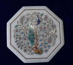 "12"" White Marble Inlaid Peacock Pietra Dura Rare Table Top Mother Of Pearl Art"
