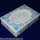 "6""x4""x1.5"" White Marble Jewelry Box Turquoise Handmade Home Decorative Gifts Art"