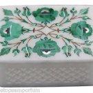 "3""x4"" White Marble Jewelry Ring Box Malachite Marquetry Inlaid Handmade Deco Art"