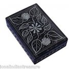 "6""x4""x2"" Black Marble Jewelry Box Trinket Handmade Hand Carved Arts Home Decor"