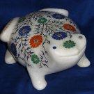 Marble Lapis Frog sculpture Decor Home Handmade Pietra dura design Inlay floral