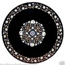 """42"""" Round Black Marble Dining Table Top Marquetry Handmade Home Decor Garden Art"""