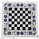 """Size 15""""x15"""" Marble Coffee Chess Table Top Mosaic Lapis Inlay Mosaic Patio Decor"""