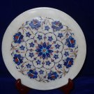 "10"" Decorative Marble Plate Lapis Lazuli Inlaid Floral Pietra Dura Home Decor"