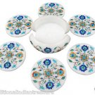 Marble Coaster Set Semi Precious Inlay Work Marquetry Turquoise Collectible Art