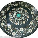 """Size 30""""X30"""" Black Marble Dining Table Top Rare Inlay Gem Floral Art Decor"""