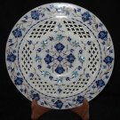"10"" Decorative Handmade Marble Plate Lapis Lazuli Turquoise Pietra Dura Gifts"