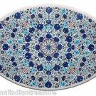 2'x3.5' Oval White Marble Table Top Handmade Pietra Dura Turquoise Lapis Lazuli