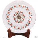 """9"""" Marble Serving Round Tray Plate Hakik Inlay Fine Art Pietradure Kitchen Decor"""