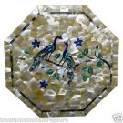 "18"" Marble Coffee Table Top Pietra Dura Mother Of Pearl Peacocks Handmade Decor"