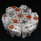 Marble Paua Shell Big Jewelry Box Trinket Six Round Elephant Xmas Art Gifts New