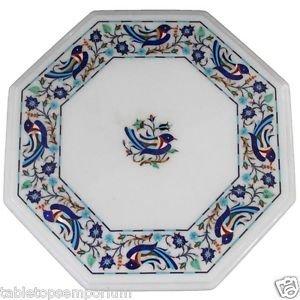 "Size 14""x14"" Marble Coffee Table Top Semi Precious Gems Inlay Mosaic Patio Decor"